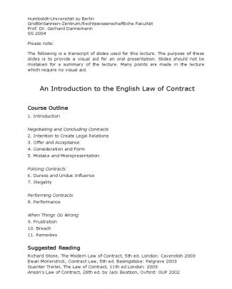 English Law Of Contract