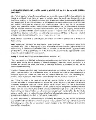 A-1 Financial Services, Inc. Vs. Atty. Laarni N. Valerio