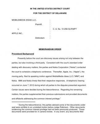 Mobilemedia Ideas Llc V. Apple Inc., C.a. No. 10-258-slr/mpt (d. Del. Sep. 10, 2012).