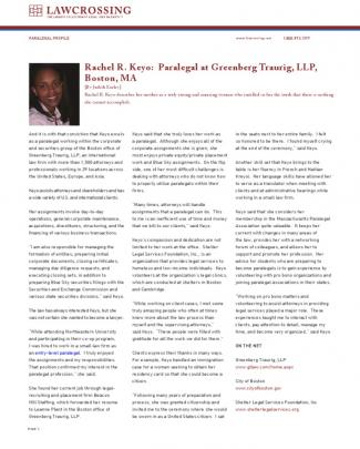 Rachel R. Keyo: Paralegal At Greenberg Traurig, Llp, Boston, Ma