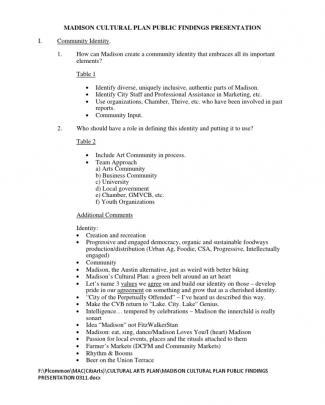 Madison Cultural Plan Public Findings Presentation 0311