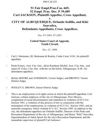51 Fair Empl.prac.cas. 669, 52 Empl. Prac. Dec. P 39,489 Carl Jackson, Cross V. City Of Albuquerque, Orlando Sedillo, And Kiki Saavedra, Cross, 890 F.2d 225, 10th Cir. (1989)