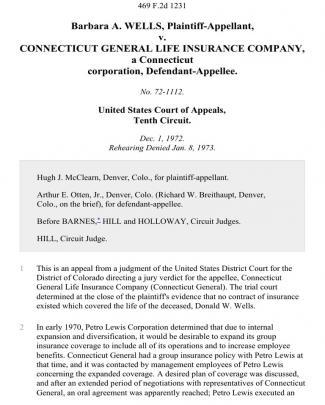 Barbara A. Wells V. Connecticut General Life Insurance Company, A Connecticut Corporation, 469 F.2d 1231, 10th Cir. (1973)