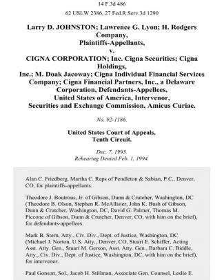Larry D. Johnston Lawrence G. Lyon H. Rodgers Company V. Cigna Corporation Inc. Cigna Securities Cigna Holdings, Inc. M. Doak Jacoway Cigna Individual Financial Services Company Cigna Financial Partners, Inc., A Delaware Corporation, United States Of America, Intervenor, Securities And Exchange Commission, Amicus Curiae, 14 F.3d 486, 10th Cir. (1994)