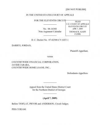 Darryl Jordan V. Countrywide Financial Corporation, 11th Cir. (2009)