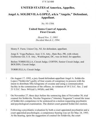 "United States V. Angel A. Soldevila-lopez, A/k/a ""angelo,"", 17 F.3d 480, 1st Cir. (1994)"
