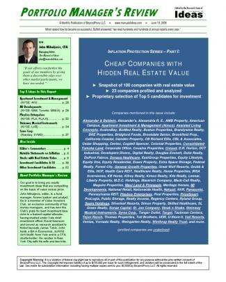 Portfolio Manager's Review: Companies With Hidden Real Estate Value (excerpt)