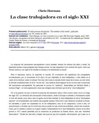 Chris Harman - La Clase Trabajadora Del S. Xxi