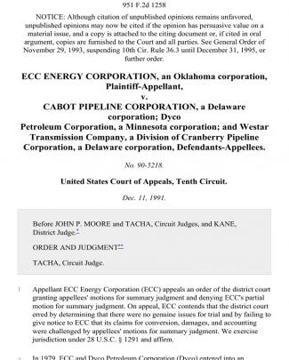 Ecc Energy Corporation, An Oklahoma Corporation V. Cabot Pipeline Corporation, A Delaware Corporation Dyco Petroleum Corporation, A Minnesota Corporation And Westar Transmission Company, A Division Of Cranberry Pipeline Corporation, A Delaware Corporation, 951 F.2d 1258, 10th Cir. (1991)