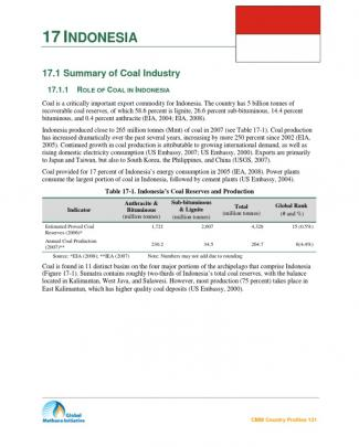 Summary Coal Industry In Indonesia