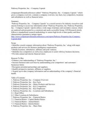 Parkway Properties, Inc. - Company Capsule