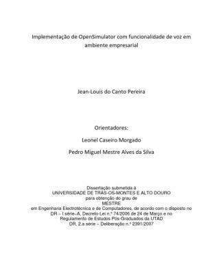 Implementação De Opensimulator Com Funcionalidade De Voz Em Ambiente Empresarial