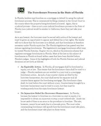 Florida Foreclosure Procedure