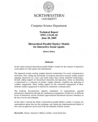 Tech Report Nwu-cs-05-10: Hierarchical Parallel Markov Models For Interactive Social Agents