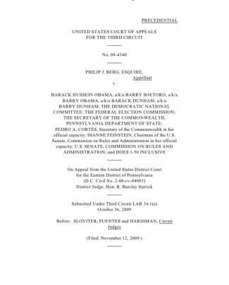 Berg V Obama (original Case) - Precedential Opinion -transport Room