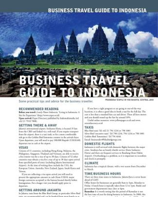 Business Travel Guide : Indonesia