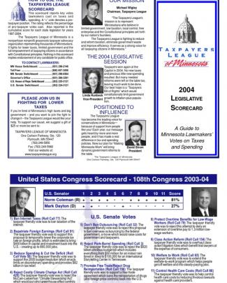 2004 Taxpayers League Of Minnesota Scorecard