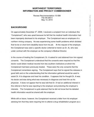 2010canlii78802 Medical Records Disclosed To Employer