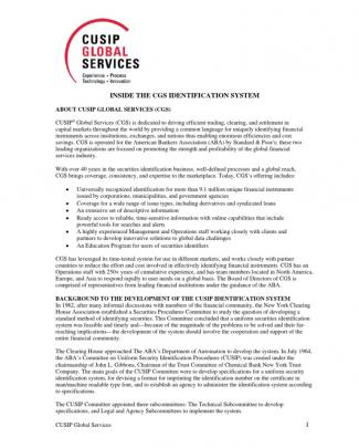 Cusip Global Services Cgs