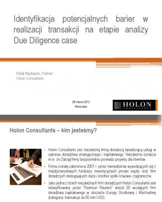 Rafal Bledowski Identyfikacja Potencjalnych Barier W Realizacji Transakcji Na Etapie Analizy Due Diligence Case