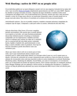 Web Hosting:: Nativo De Swf En Su Propio Sitio
