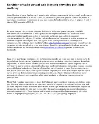 Servidor Privado Virtual Web Hosting Servicios Por John Anthony