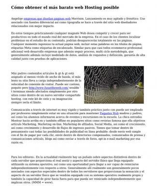 C?mo Obtener El M?s Barato Web Hosting Posible