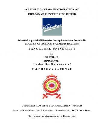 Internship Project Of Kirloskar Electric Company Ltd