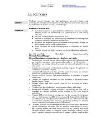 Automotive Parts Sales Account Manager In Los Angeles Ca Resume Ed Ramones