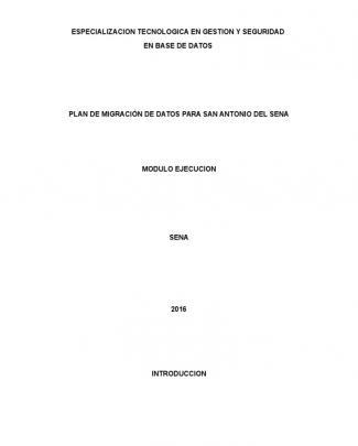 Plan De Migración De Datos Para San Antonio Del Sena