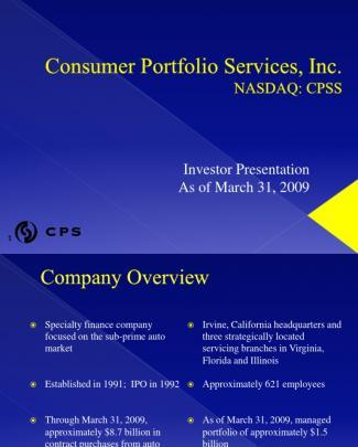 Consumer Portfolio Services Cpss Mar 2009 Presentation