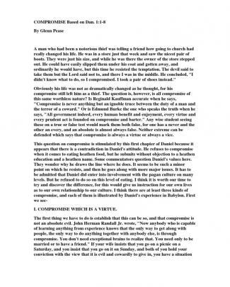 Compromise Based On Dan. 1:1-8 By Glenn Pease