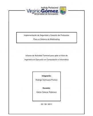 Implementacion De Seguridad Y Creacion De Protocolos Para Un Sistema De Webhosting