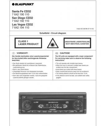 Blaupunkt Las Vegas San Diego Santa Fe Cd32 Sm-car Radio Manuals