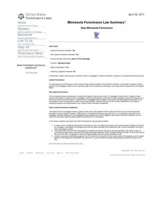 Minnesota Foreclosure Law Summary