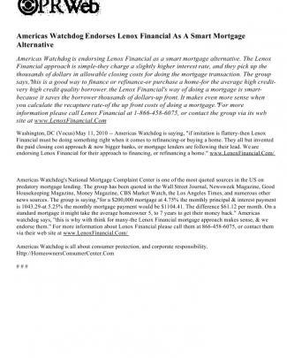 Americas Watchdog Endorses Lenox Financial