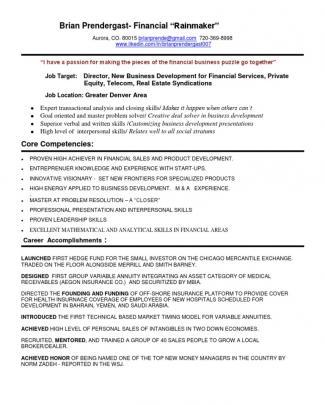 New Business Development Financial Director In Denver Co Resume