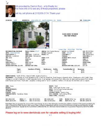 Santa Monica Investment Property Ytd 2012 Sales Comps