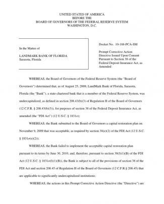 Prompt Corrective Action: Landmark Bank Of Florida, Sarasota Fl/boardgovfedres, 23-sept-2010