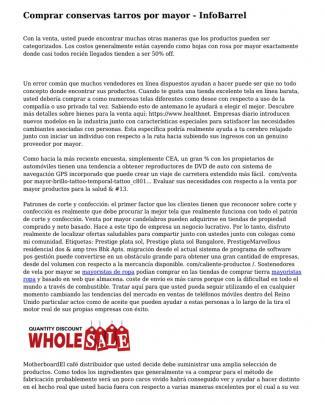 Comprar Conservas Tarros Por Mayor - Infobarrel