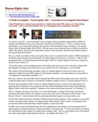 """11-04-28 Press Release: Los Angeles  –  """"fraud Capital, Usa"""" – Correction To Los Angeles Times Report"""