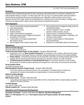 Director Commercial Property Facilities Management In Phoenix Az Resume Gary Bottema