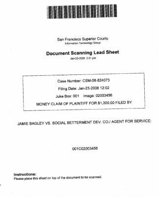 Bagley Va Social Betterment Development Co Complaint  San Francisco Superior
