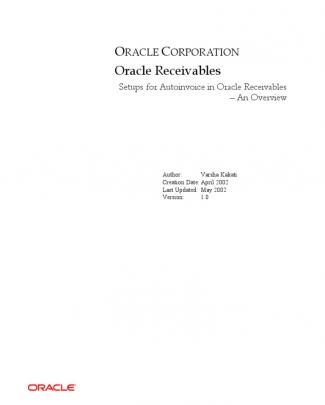 Auto Invoice Setups - Oracle Receivables
