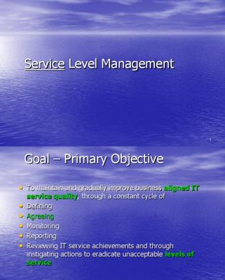 9 Service Level Mgt