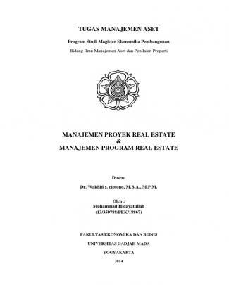 Manajemen Proyek Real Estate & Manajemen Program Real Estate