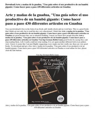 Arte Y Ma Ntilde As De La Guadua Quot Una Gu Iacute A Sobre El Uso Productivo De Un Bamb Uacute Gigante Como Hacer Paso A Paso 430 Diferentes Art Iacute Culos En Guadua Reviews