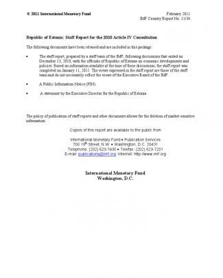 Imf: Estonia Staff Report --- February 2011