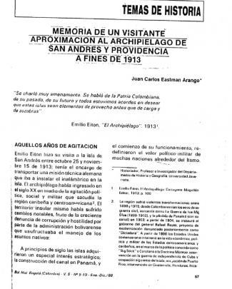 Eastman Arango Juan Carlos- Memoria De Un Visitante: Aproximación Al Archipiélago De San Andrés Y Providencia A Fines De 1913