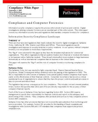 Complianceandcomputerforensicswhitepaper09-05